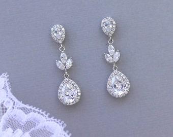 Crystal Bridal Earrings, Bridal Drop Earrings, Crystal Wedding Earrings, Bridal Clip Earrings, Crystal Bridal Jewelry,  HAYLEY CR