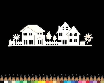 Cut out border House car tree cutout paper die cut creation embellishment scrapbooking