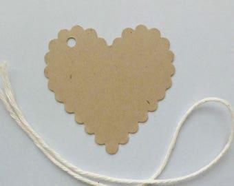 50 wedding tags scalloped heart tags clothing hang tags price tags merchandise tags kraft tags gift tags blank tags supplies product tags