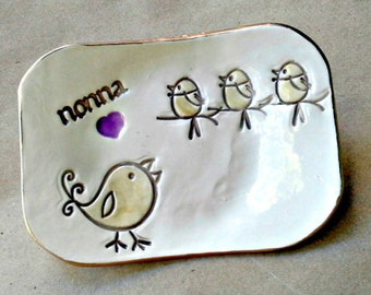 NONNA Trinket Dish Jewelry dish Mothers Day 3 birdies Mothers Day Gift
