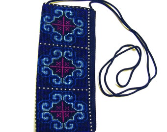 Cross Stitch Embroidered Eye Glass Case Pouch (blue red sky blue white)