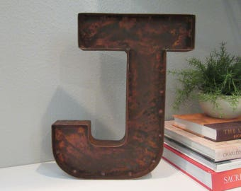 Rusty Metal Letter J for Wall or Standing Ready to Ship-One Time Offer Rusty Letter J-Vintage Inspired Metal Letter J-Rustic Farmhouse Decor