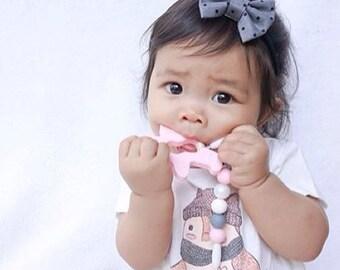 Gray Polka Dot Hair Bows - Fabric Hair Bows - Grey Hair Bows - Polka Dot Hair Clip - Gray Hair Bow - Non Slip Hair Bow