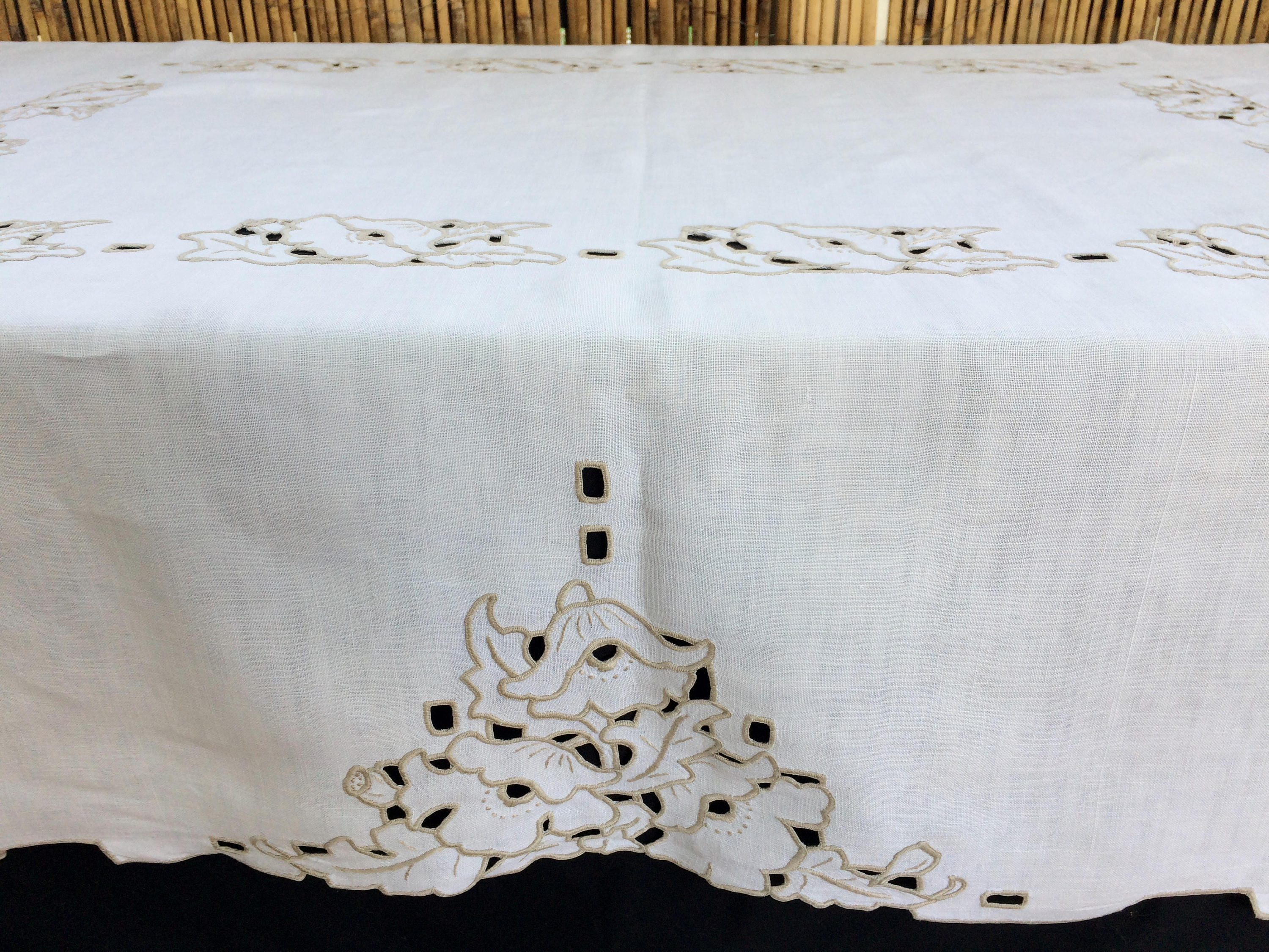 Embroidered Tablecloth. Madeira Cutwork Embroidered Vintage