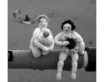Black and White Photography, Print, Seaside, Wall Art, Beach, People, Calendar Girls, Yorkshire, WI, Knitting, Surreal