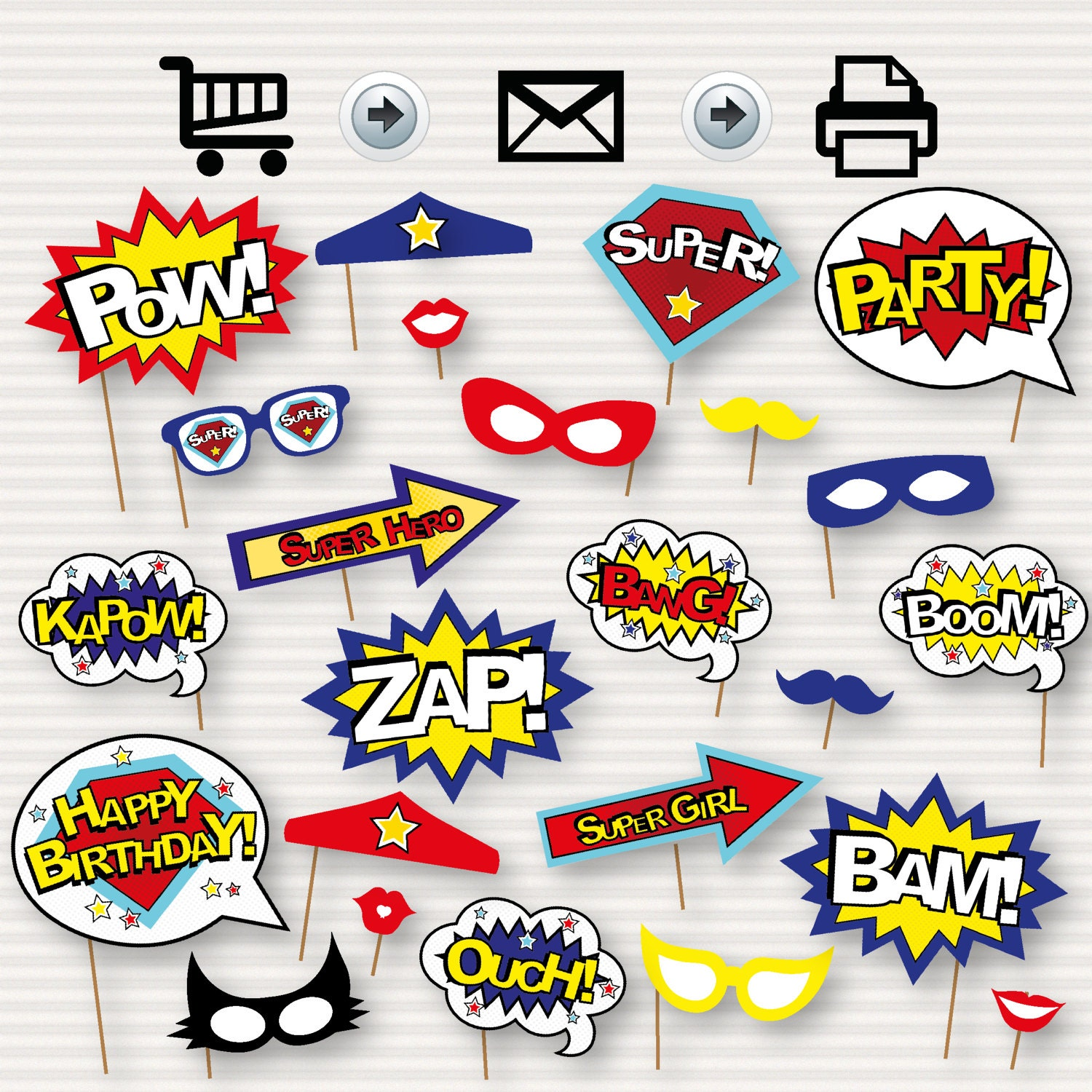 Superhero photo booth printable props superhero party for Decoration chambre super heros