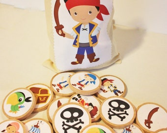 Jake and the Neverland Pirates Inspired Memory Match Set, Pirate Game, Wooden Game, Montessori Game, Waldorf, Personalized Game