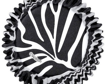 Black and White Zebra Wilton Standard Cupcake Liners Baking Cups Muffin Cups - Zebra Cupcake Liners
