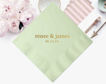 50 Personalized Napkins Premium 3 Ply Quality Wedding Foil Printed Cocktail Luncheon Dinner Guest Towels Available Monogram Custom