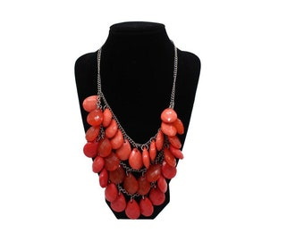 18 to 21 inch adjustable red beaded necklace