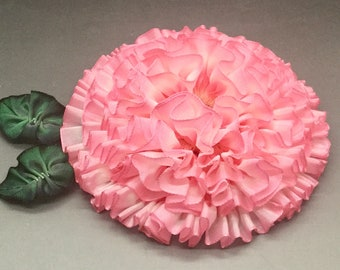 Large Pink and White Ribbon Flower Millinery Appliqué Zinnia Frilly Pleated Flower