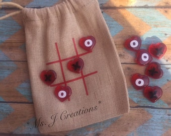Valentines Day Inspired Tic Tac Toe Burlap Game - Red Heart X O Handmade Gift Kids - READY TO SHIP