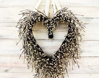 Mothers Day-Heart Wreath-Wedding Wreath Housewarming Gift-Wedding Decor-Wedding Wreath-Weddings-WHITE HEART Wreath-Rustic Farmhouse Wedding
