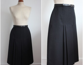 1980's Black Skirt Pleated Belted Size UK 8-10