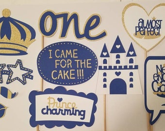 Little Prince Royal Blue and Gold First BirthdayParty Photo Booth Props-10 Pieces