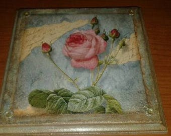 Wood decoupage framework with Rose, heavenly color ready to hang for vintage style shabby kitchen