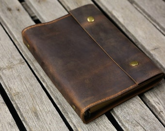 Personalized A5 Leather Journal , distressed leather refillable binder travel notebook portfolio  - NA505PDS
