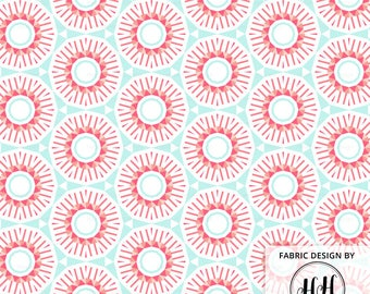 Geometric Spring Fabric By The Yard - Mint Pink Straight Lined Circles Geodesic Print in Yard & Fat Quarter