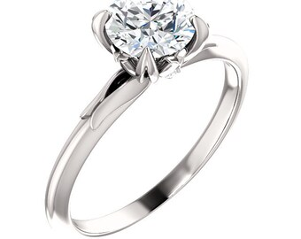 1.00 ctw Solitaire Engagement Ring ,Swarovski Cubic Zirconia Wedding Ring  In Solid 10K White Gold