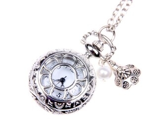FLOWER Necklace, FLOWER Pocket watch, Key watch, Key Necklace