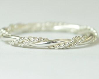 Elegant Silver Twist Ring, Rope Ring, inexpensive wedding band, Fancy Stacking Ring, Art nouveau Ring, Silver Ring Silver Band Stacking Ring
