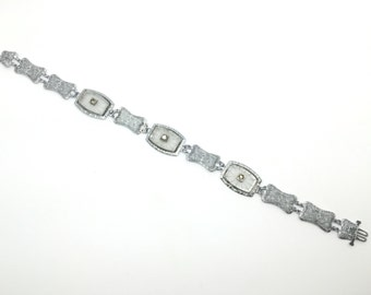 Art Deco Bracelet made of Camphor Glass and Rodium, Vintage Bracelet, Made in USA, c. 1930s