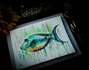 Colorful Fish Watercolor Aquatic Sealife Painting