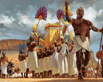 Egyptian King Cortege - Egyptian Art - Handmade Oil Painting On Canvas
