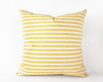 Striped yellow pillow cover in 16x16 inches - 18x18 inches and more sizes, pastel yellow cushion cover, indoor and outdoor decor