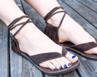 Brown suede thong nomad wrap sandals
