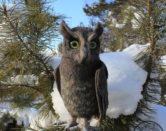 Made to order (this very item is alredy SOLD) Scops owl, needle felted owl, owl sculpture, faux taxidermy, OOAK dolls, owl figurines