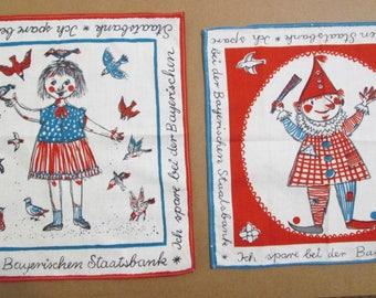 2 LOT Vintage German Art Handkerchiefs Bright Colors Girl Birds Clown