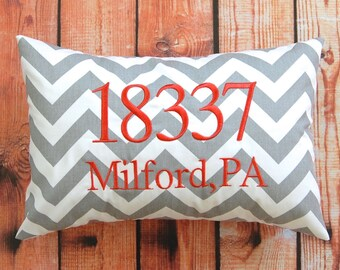 Zip Code Pillow Cover - Hostess Gift - Throw Pillow Cover - Personalized Gift - Pillow Cover - Housewarming Gift - New Home Gift - Entryway