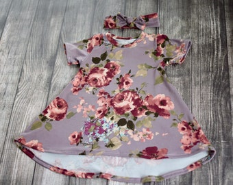 9-12 Months Burgundy Floral on Dust Mauve Short Sleeve Tshirt Dress w Headband