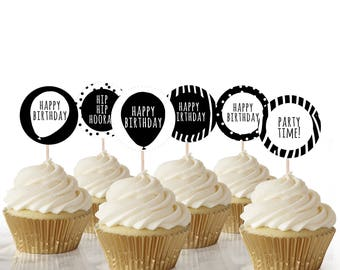 Black and White Party Cake Toppers, Instant Download, Printable Cake Topper, Printable cupcake toppers, Black and white party decorations