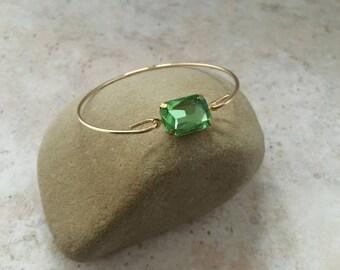 Peridot Gemstone Bangle Bracelet,Green Stacking Bracelets,Gift Jewelry, Birthstone Bangle, Christmas Gift,Thin Bangle, Stackable Bracelet