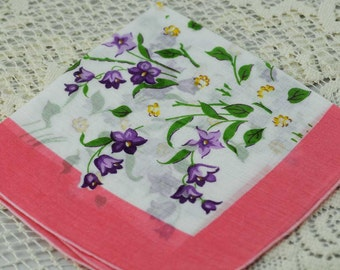 Vintage Hankie,  Pink With Purple Flowers #I-15