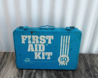 Vintage First Aid Kit - Blue First Aid Kit  - First Aid Supplies - Bathroom Decor - Vintage Bathroom