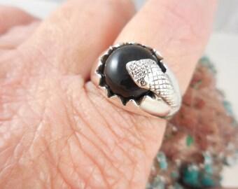 Black Onyx Snake Sterling Silver Ring