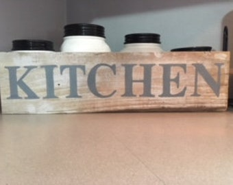"""Hand Made Repurposed Pallet Wood Sign """"Kitchen"""""""