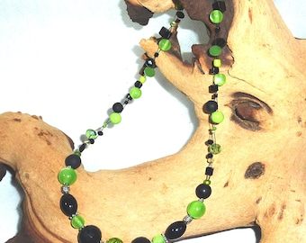 2reihige Necklace Necklace-Green & Black-