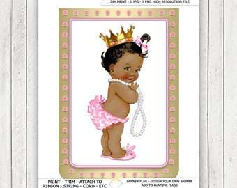 Ethnic African American Princess Pearl Baby Shower Banner Bunting Flags Ethnic Princess Pearl Baby Shower Banner