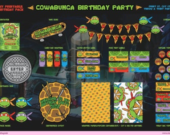 Teenage Mutant Ninja Turtles -TMNT- Printable Birthday Party Pack - DIY - including Invitation, streamer, yard sign, face mask and much more