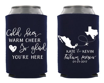 Destination Wedding Can Cooler, Personalized Destination Wedding Favor, Destination Wedding Favor, Custom Wedding Can Cooler, Wedding Favors