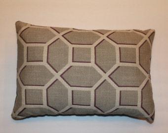 CLEARANCE! Exclusive 12x16 Purple Lavendar Plum Gray Decorative Throw Geometrical Pillow