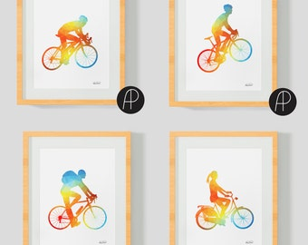 4 Cycling Prints - 50% OFF! Great gift for cyclists