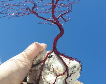 """CrystalRockArts Burgandy blowing """"Rock Tree"""" on Black Walnut base - NH Pegmatite & Wire Wrapping by Totally Wired E. Scott Phillips."""