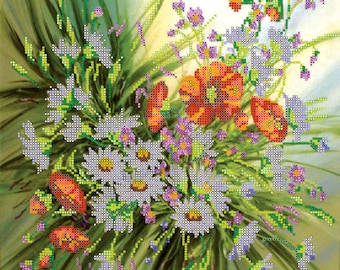 Summer Flowers bead embroidery beaded painting DIY beading kit craft set room wall decor