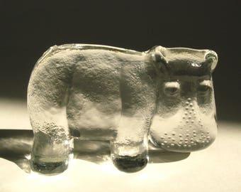 Kosta Boda Sweden HIPPO Bertil Vallien Glass Figurine Paperweight 1970s Zoo Series