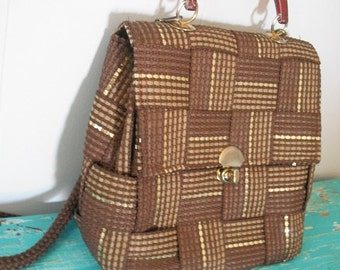 beautiful VINTAGE Italian Brown and Gold Weave Shoulder Bag Italy Purse